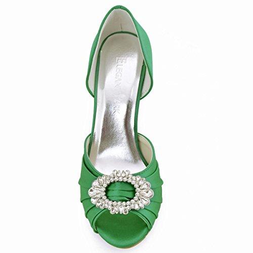 ElegantPark A2136 Donna Pompe Peep Toe Tacco A Spillo Fibbia Pieghe Satin Partito Ballo Scarpe Da Sposa Verde