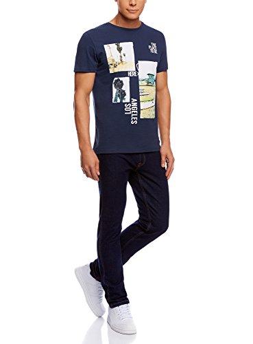 oodji Ultra Herren T-Shirt mit Sommerdruck Blau (7935P)