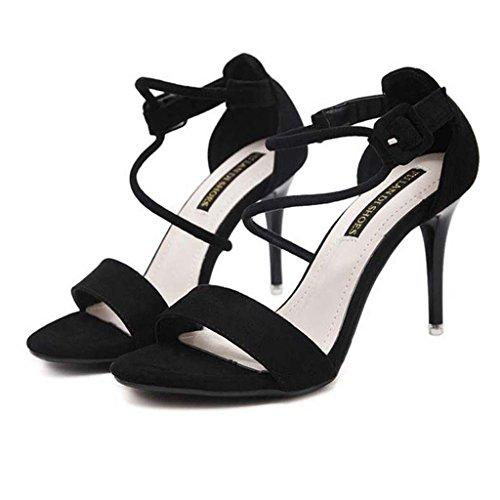 SHEO sandales à talons hauts Un mot avec des sandales à talons hauts en crochet avec des orteils sexy avec des sandales féminines ( Couleur : Noir , taille : 38 ) Noir