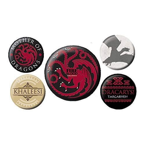 Echte HBO Game of Thrones Feuer und Blut 5 Stück Button Badge Set ()