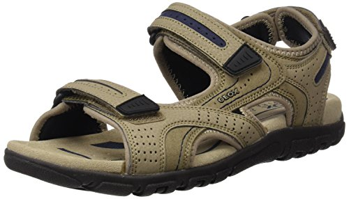 Geox uomo strada d, sandali con cinturino alla caviglia, beige (sand/navy), 44 eu