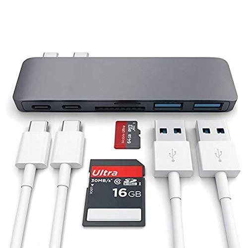 Doppelkopf Type-C auf 2 x USB 3.0 HUB+SD/TF-Kartenleser, USB-C-Daten, PD-Aufladen, HDMI 4 K, Grau
