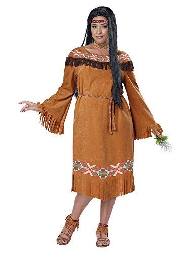 Western Indianerin Plus Size Damenkostüm Wildwest braun-bunt XXL