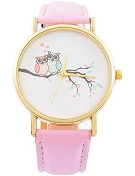 Souarts Damen Armbanduhr Eule Muster Deko Uhr mit Batterie Charm Geschenk Rose