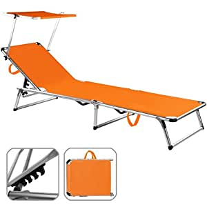 chaise longue avec pare soleil pliante aluminium transat pliable parasol orange 190x67 cm. Black Bedroom Furniture Sets. Home Design Ideas