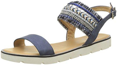 The Divine Factory Women's AVA Sling Back Sandals, Blue (Marine 005), 3.5 UK 3.5 UK