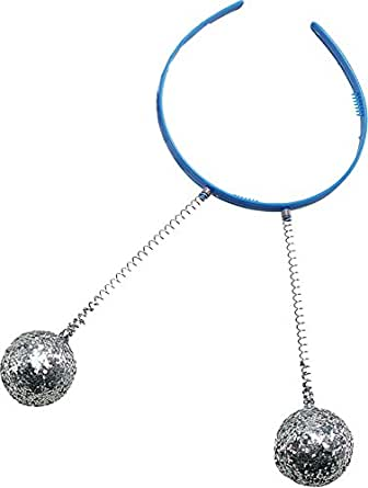 Bristol Novelties Head Boppers Silver Balls Coloured Headband, Band Colour May Vary