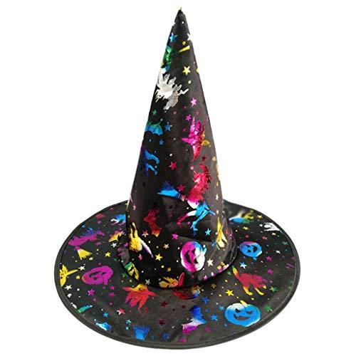 Folie Hut Kostüm - ruiruiNIE Mode Bunte Erwachsene Kinder Hexenzauberer Hut Folie Kürbis Muster Kostüm Halloween Party Maskerade Cosplay Kostüm-2#