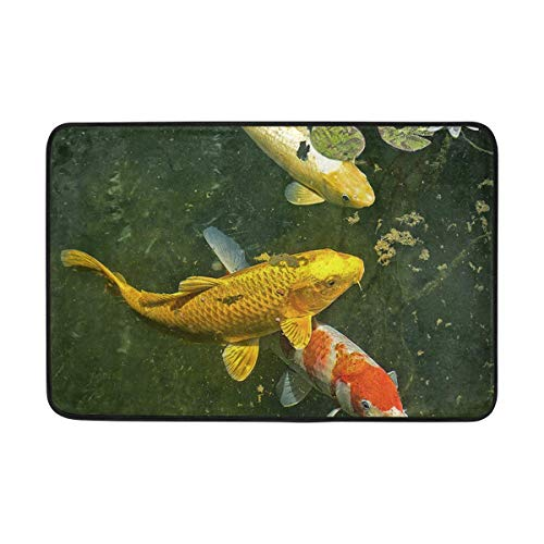 EJjheadband Door Mats Three Koi and Water Lily for Bathroom Floor Home Decoration 23.7 x 15.7 Inch -