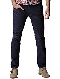 Match Herren Slim-Tapered Flat-Front Casual Kord Hose #8052