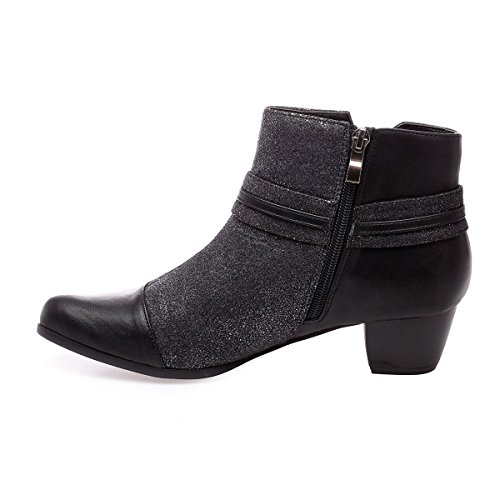 La Modeuse - Bottines aspect cuir pailleté à talon carré Noir