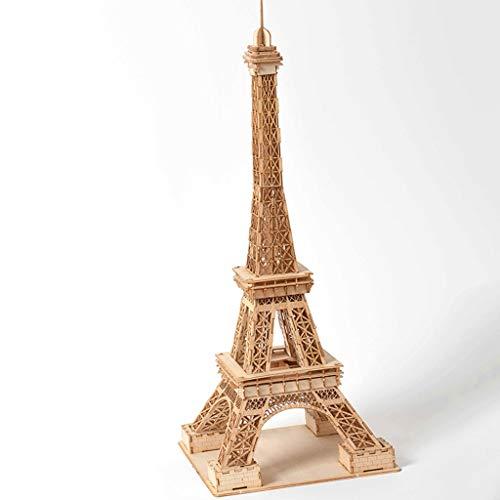 GLOOPE Eiffelturm Holz 3D Puzzle Modell DIY Puzzle Spielzeug Kinder Geschenk Dekoration Kreative Hand Kit - Erwachsenen-modell-kits