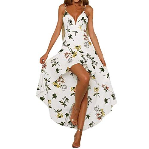 VEMOW Sommer Elegante Damen Schulterfrei Abendkleid Urlaub Tauchen Damen Maxi Lange Blumendruck Casual Täglichen Party Strandkleid(Weiß, 38 DE/S CN)