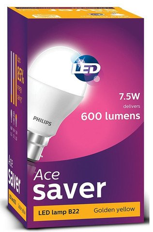 Philips Ace Saver 7.5-Watt B22 Base LED Bulb (Warm white/Golden Yellow and Pack of 1)