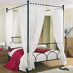 Tab Top Voile 4 Poster Bed Curtain Set. Includes 8 Voile Panels And 4 Tie Backs. Set in Cream.