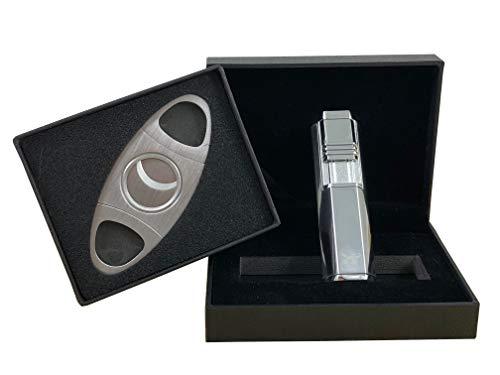 Topkapi 500.081 - Mini Zigarren-Set in Chrome/Silber mit Edelstahl Cutter und Jet-Feuerzeug - Feuerzeug Zigarren-cutter Und