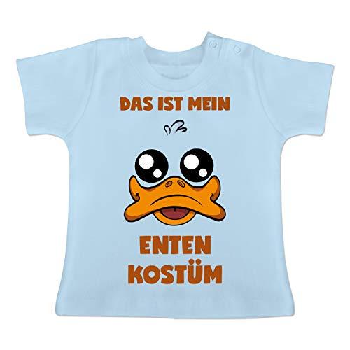 Karneval und Fasching Baby - Das ist Mein Enten Kostüm - 6-12 Monate - Babyblau - BZ02 - Baby T-Shirt Kurzarm (Ente Donald Kostüm)