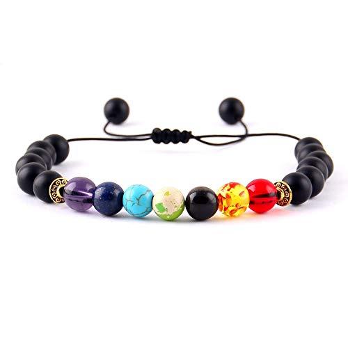 Imagen de liaochen yoga 7 cuentas de piedra pulseras del encanto de cristal brillantes chakras curación equilibrio macramé trenzan las mujeres pulseras y brazaletes de hombre accesorios metal color  4254e