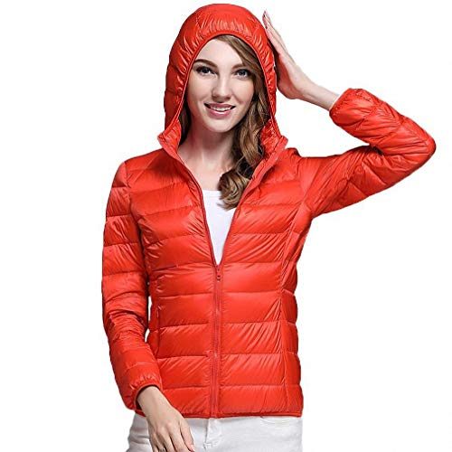 Fashionmae Ultra Light White Duck Down Jacket Women Herbst Winter Warmer Mantel Lady Übergrößen Jacken Weiblichen Hooded Parka, Orange, XXXL