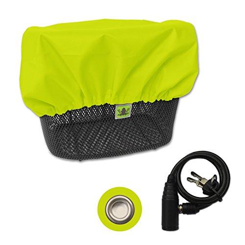 MadeForRain Gut sichtbare, wasserdichte Regenhülle mit Diebstahlschutz für Fahrradkörbe - CityTurtle AntiTheft - Neongelb
