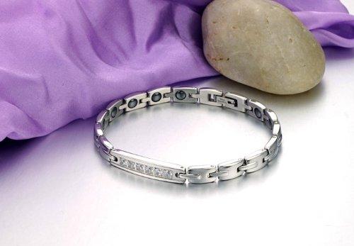 JewelryWe Schmuck Edelstahl Paare Armbänder mit Zirkonia Schwarz Magnet Armband Magnetarmband Partnerarmband Armreif für Herren Damen ein Paar, Kostenlos Gravur