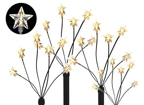 LED Garten Leuchtstäbe Stern - 4er Set mit 24 LED - Gartenstecker Balkon Weihnachts Deko Außen
