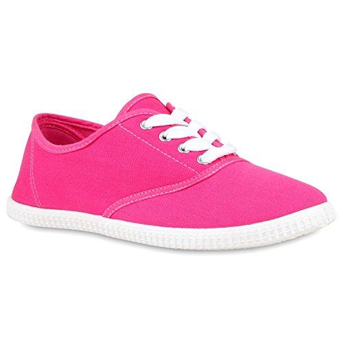 Sportliche Damen Herren Sneakers Unisex Basic Freizeit Schnürer Stoff Prints Viele Farben Schuhe 112763 Pink 40 Flandell