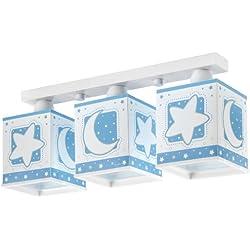 Dalber 63235TL - Lámpara triple para habitación infantil, diseño de luna y estrellas azules