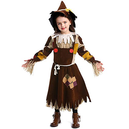 ZQ Cosplay Der Zauberer von Patch Vogelscheuche Kostüm Cosplay Mädchen Kinder Halloween Karneval Cosplay Party Amazing Fancy Dress Up,S (Kostüme Halloween Scarecrow Für Damen)