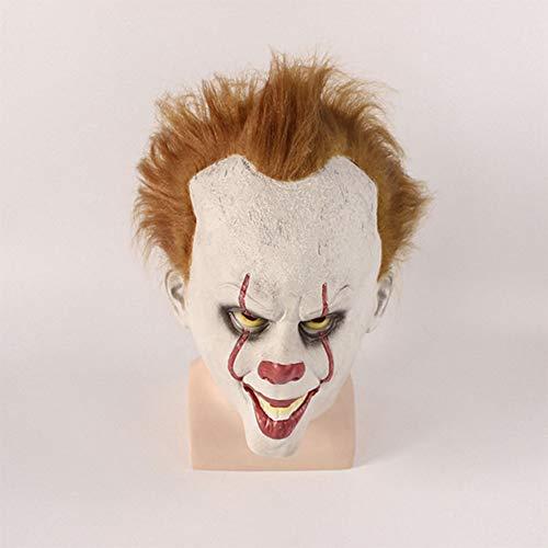 ZX Maske Clown Zurück Seele Cos Perücke Set Film Umliegenden Pennywise Halloween Horror Requisiten,Weiß,MJ