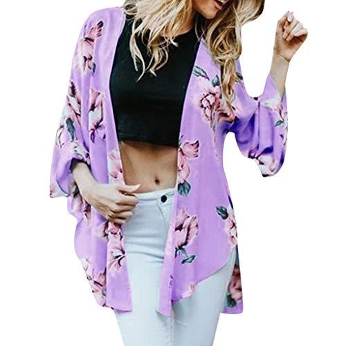 Fenverk Damen Sommer Boho Strand Kimono Florale Tops Cardigan Chiffon Shawl Bluse Beachwear Bikini Cover Up Leichte Jacke Oberteil DüNne Frauen Kurzarm Strandkleid JäCkchen(Lila,XXL)