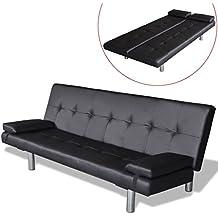 Vislone Ajustable Sofá Cama con 2 Almohadas y 3 Posiciones Ajustables Cuero Artificial 168x77x(61