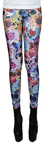 erdbeerloft - Damen Mädchen Leggins Leggings Sugar Skulls Print, One Size S-M-L, Mehrfarbig