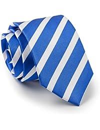 Savile Row Men's Royal Blue White Stripe Silk Tie