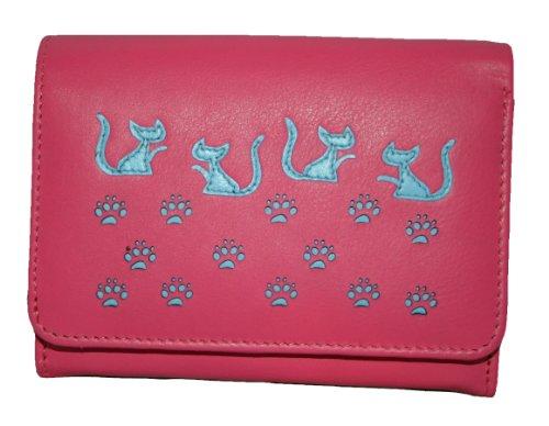 Mala in pelle medium Aletta Gatto Pattern Portafoglio Stile papavero 317055 Pink Medium