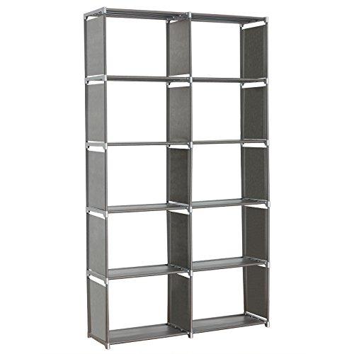 Standregal Lagerregal Regale für Bücher,2 x 5 Ebenen mehr Raum Aufbewahrungregal Bücherregal, Silber, ca.99x30x177cm, RGB9263sb