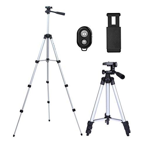 Kamera Stativ, CCRoom 102cm Aluminium Smartphone Stativ mit Handy Halterung und Bluetooth Fernbedienung Handy Stativ für iPhone Samsung und Kamera (Silber)