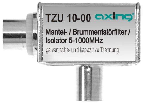 Axing TZU 10-00 Mantelstromfilter / Brumm-Entstör-Filter (5-1000 MHz) IEC-Anschlüsse für Kabelfernsehen Radio DVB-T2 HD