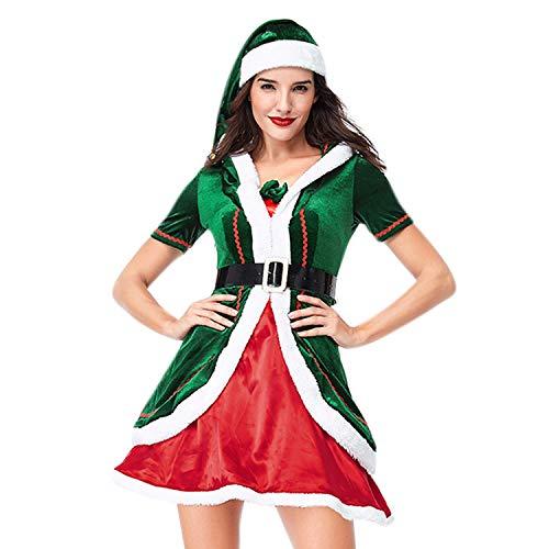 YASSON Elf Kostüm Erwachsene Weihnachten Weihnachtself Kostüm Halloween Fasching Karneval Familien Mütze Kleider Strumpfhose Familien Verkleidung