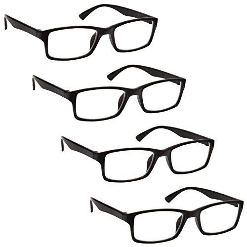L'azienda Occhiali Da Lettura Nero Lettori Valore 4 Pacco Uomo Donna UVR4092BK Diottria +2,00