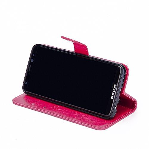 Hülle für Samsung Galaxy S8, Tasche für Samsung Galaxy S8, Case Cover für Samsung Galaxy S8, ISAKEN Blume Schmetterling Muster Folio PU Leder Flip Cover Brieftasche Geldbörse Wallet Case Ledertasche H Blume Pink