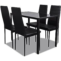 vidaXL Conjunto de mesa comedor 5 piezas negro