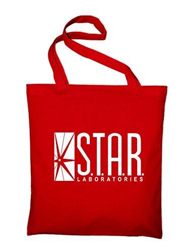 Star Labs Laboratories Logo Jutebeutel, Beutel, Stoffbeutel, Baumwolltasche, schwarz Rot