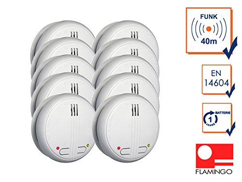 funk rauchmelder 10er set 10er Set Vernetzbare Funk Rauchmelder, 85dB, Testtaste, inkl. Batterie, FA21RF