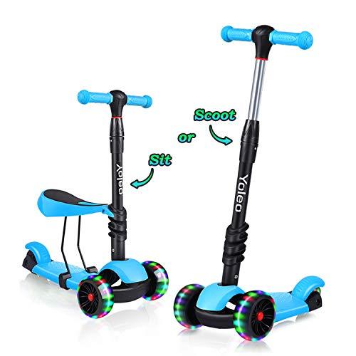 Yoleo 3-in-1 Kinder Roller Scooter mit Abnehmbarem Sitz, LED große Räder, Höheverstellbare Lenker für Kleinkinder Jungen Mädchen ab 2 Jahre (Blau) (Kleine Mädchen, Die Elektro-roller)