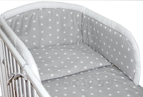 3pcs Baby Bedding Set to fit Cot Bed (140 x 70cm) GREY STARS