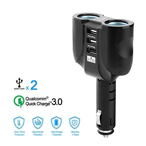 Rocketek QC 3.0 Chargeur de voiture USB avec 2 prises adaptateur allume-cigare pour voiture à et 3 ports de charge USB 5.1A Adaptateur automatique pour tablettes, GPS, lecteurs MP3 | fusibles intégrés 10A