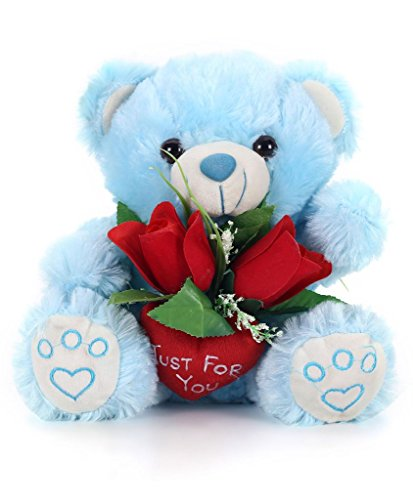 Tickles Blue Just for You Teddy with Rose Stuffed Soft Plush Toy24 cm