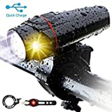 Bike Light Set,3rd-Generation USB Rechargeable LED Headlight Bicycle Lights Front(Smart,Anti-Glare,8h Working,Super Bright,Safer), Rear Tail Light and Alloy Bike Bell, Fits for Mountain Road Cycle