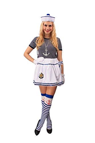 t für Damen | Größe: 44-46 | Rock in Weiß-Blau für Erwachsenenkostüme | Zubehör zur Matrosin Verkleidung für Karneval & Fasching | Accessoire für Marine Erwachsenenkostüm (Matrose Kostüm Zubehör)